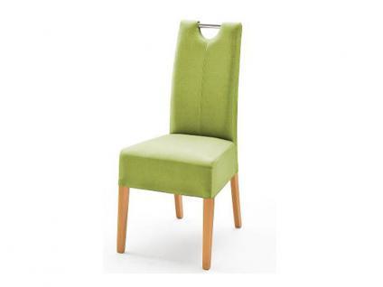 MCA Direkt Stuhl Enya im Lederlook grün 2er Set Polsterstuhl für Wohnzimmer und Esszimmer Ausführung 4 Fuß Massivholzgestell und Chromgriff
