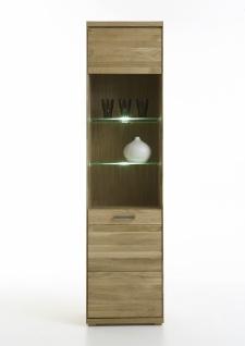 ELFO Vitrine MIA schmal Wildeiche oder Kernbuche Massivholz geölt Glasschrank Art.Nr.2901 6901 1 Tür mit Linksanschlag 2 Glaseinlegeböden 1 Holzboden 1 fester Boden Möbel für Ihr Wohnzimmer oder Esszimmer