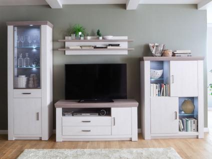MCA furniture Wohnwand Bozen Wohnkombination 1, 4-teilig, bestehend aus Vitrine, Kombi-Highboard, TV-Element und Wandboard, Beleuchtung wählbar