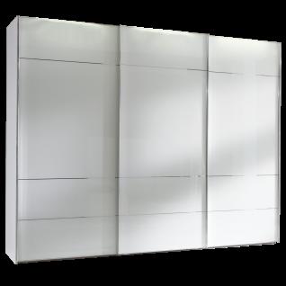 Staud Sonate Lucca Schwebetürenschrank Korpus Dekor weiß und Front Alpinweißglas mit silberfarbigen Zierlinien und alufarbige Griffleisten