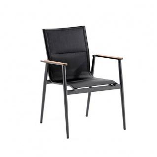 Niehoff Garden Regg Gartenstuhl G812-100-330 mit Vierfußgestell aus Aluminium Anthrazit pulverbeschichtet mit Sitz und Rücken aus Textilene Schwarz und Armlehnauflagen aus Teakholz Stuhl für Ihren Garten