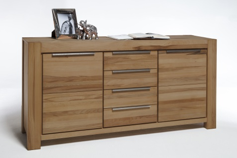 Elfo-Möbel Nena Sideboard 2758 in Wildeiche Massivholz geölt Kommode mit 2 Türen und 4 Schubkästen stilvolle Anrichte für Wohnzimmer oder Esszimmer