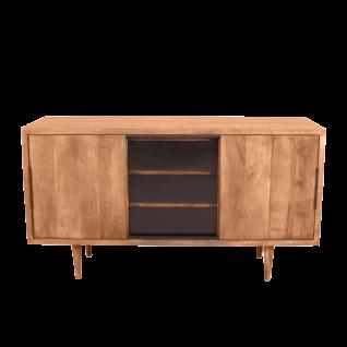 Sit Möbel MID CENTURY Sideboard mit Schiebetüren aus Akazienholz Schubladen schwarz
