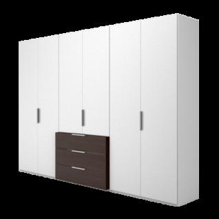 Nolte Möbel Concept me 220 Drehtüren-Komplettschrank mit vorgezogenem Schubkastenblock Ausführung in Dekor Farbe wählbar optional mit LED-Beleuchtung am Schubkastenblock