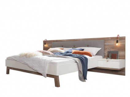Nolte Möbel Cepina Bettanlage 1 im alpinen Chic, Liegefläche wählbar, Kombination aus Polarweiß und Picea Pine inklusive 2 Nachtschränken