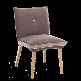 Standard Furniture Polsterstuhl Genua 1 Bezug zweifarbig Camel/ Espresso Gestell aus Massivholz Eiche natur