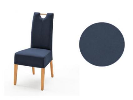 MCA Direkt Stuhl Elida nachtblauer Bezug Argentina 2er Set Polsterstühle für Wohnzimmer und Esszimmer Ausführung 4 Fuß Massivholzgestell und Griff wählbar