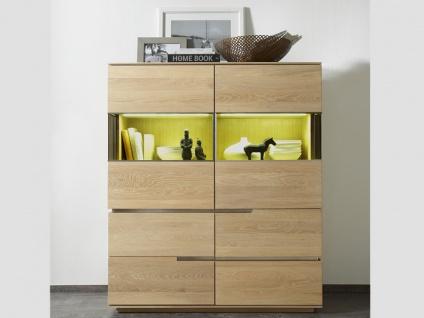 Wimmer acerro Highboard Massivholz Türen Schubkästen Glasfüllung und Eckglasfüllung für Wohnzimmer und Esszimmer
