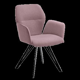 Niehoff Armlehnenstuhl Merlot 1132 Designerstuhl Bezug aubergine lila Stativgestell aus Eisen schwarz Esszimmerstuhl