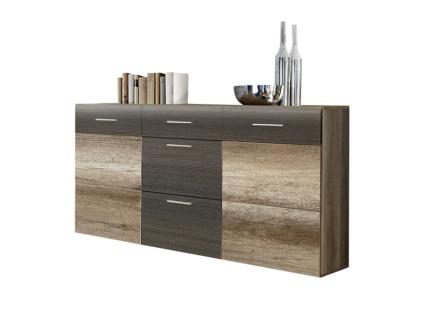 FORTE Nabou Sideboard NBUK35 für Ihr Wohnzimmer oder Esszimmer mit zwei Türen und drei Schubkästen im Dekor Eiche Antik und Touchwood Nachbildung