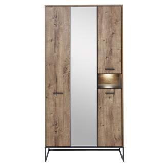 Wohn-Concept Manhattan Garderobenschrank 6008VV02 mit 4 Türen und 1 offenen Fach in Haveleiche Cognac Nachbildung und Metall Anthrazit mit Beleuchtung