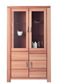ELFO Vitrine GRAZ mit 2 Holztüren, 2 Türen mit Glaseinsatz, 2 Glaseinlegeböden, Beimöbel Kernbuche Massivholz geölt, Glasschrank Art. Nr. 6961, viel Stauraum für Ihr Gästezimmer oder Wohnzimmer