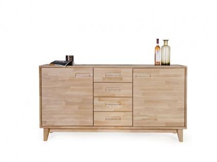 Standard Furniture Sideboard 2 aus dem Einzelmöbelprogramm Numero Uno Massivholz Kommode mit zwei Holztüren und vier Schubkästen Anrichte für Wohnzimmer oder Esszimmer Griffausführung Gestellvariante und Holzausführung wählbar