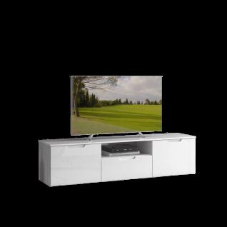Forte Sienna Lowboard SNNT131 mit zwei Türen einem Schubkästen und einem offenen Fach Korpusfarbe Weiß Front Weiß Hochglanz Dekor für Ihr Wohnzimmer
