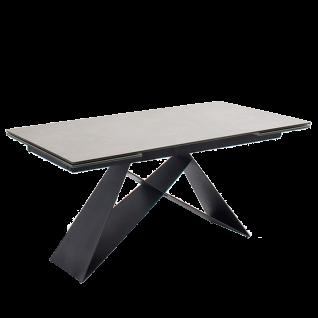 MCA furniture Esstisch Kobe ca. 160x 90 cm Tischplatte Keramik/ Sicherheitsglas hellgrau Metallgestell schwarz matt lackiert