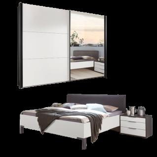 Wiemann Glasgow Schlafzimmerset mit Futonbett mit Kopfteil in Rautensteppung Schwebetürenschrank und Nachtschränke Front in Mattglas Weiß mit Spiegel