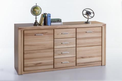 Elfo-Möbel Tabea Sideboard 6336 mit 2 Holztüren 4 Schubfächern Kernbuche teilmassiv geölt für Wohnzimmer oder Esszimmer