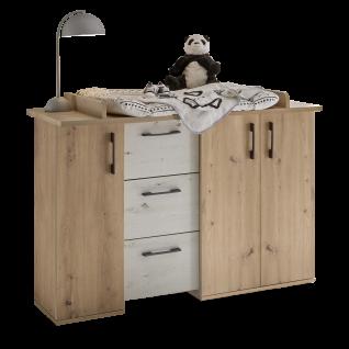 Mäusbacher Micha Wickelkommode 0400-Wiko_33 mit drei Türen und drei Schubkästen für Kindezimmer Dekor Asteiche und Artisan Weiß