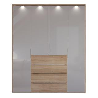 Nolte Möbel Horizont 110 Drehtürenschrank 4-türig mit 4 Schubkästen Korpus und Schubkastenfront in Dekor Türfront verglast optional mit Profilkranz