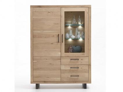 Bodahl Woodstock Timber Highboard 10585 wild oak Massivholz Anrichte mit Vitrine und Schubkästen für Wohnzimmer und Esszimmer Holzausführung und Beleuchtung wählbar