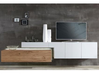 NW Norbert Wöstmann Design NW 440 Wohnkombination 1002 oder spiegelseitig 1102 zweiteilige Wohnwand für Wohnzimmer Ausführung und Beleuchtung wählbar