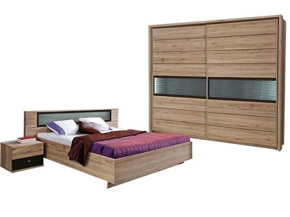 FORTE Celano Schlafzimmer 5 Teiliges Set Mit Bett Ca. 180x200cm  Kleiderschrank Passepartout Rahmen