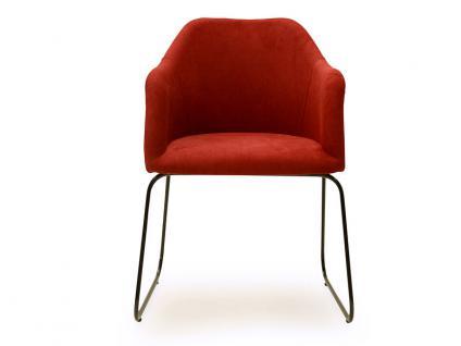 Standard Furniture Sesselsystem Theo Sessel mit Draht-Kufen-Gestell in Edelstahl oder Metall schwarz Polsterstuhl für Esszimmer Bezug wählbar