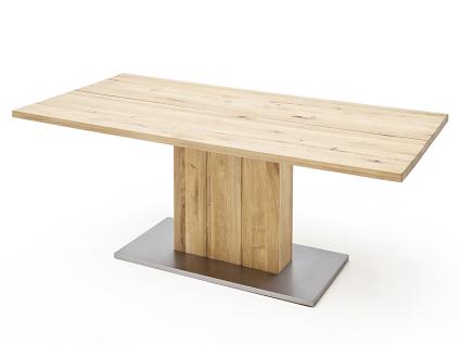 MCA Greta Esstisch in Balkeneiche Massivholz geölt mit geteilter Tischplatte gerade Kanten mit Säulenfuß in verschiedenene Größen wählbar