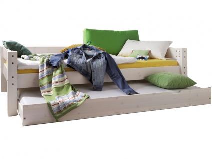 Infantil TOBYKIDS massives Einzelbett in Kiefer weiss inklusive Rollrost Liegefläche 90 x 200 cm mit Bettschubkasten und hinterer Absturzsicherung