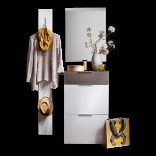 Wittenbreder Stelvio Garderobenkombination Nr. 09 komplette Garderobe für Ihren Flur und Eingangsbereich 3-teilige Vorschlagskombination im Weiß Hochglanz Dekor Weiß Glas und Glas Basalt mattiert