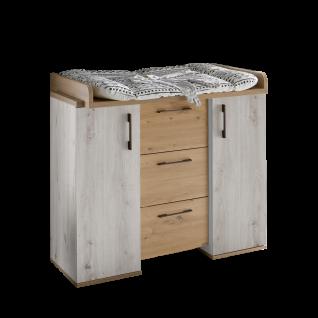 Mäusbacher Micha Wickelkommode 0400-Wiko_23 mit zwei Türen und drei Schubkästen für Kindezimmer Dekor Asteiche und Artisan Weiß