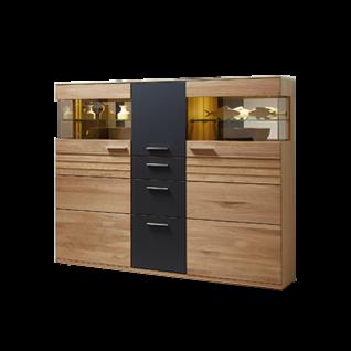 Wohn-Concept Achat Highboard 45 06 HH 22 mit drei Türen und drei Schubkästen Anrichte für Ihr Wohnzimmer oder Esszimmer in Wildeiche teilmassiv mit Absetzung in Lack Laminat Graphit inkl. LED-Beleuchtung