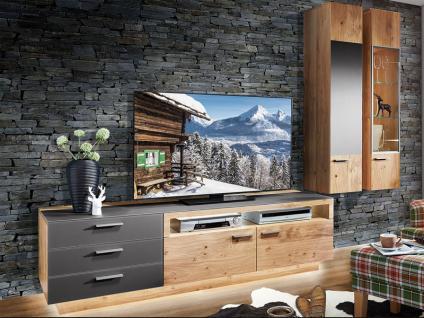 Schröder Kitzalm-Montana Kombination K002 furnierte Wohnkombination 3-teilig Wohnwand mit Glas-Akzent für Wohnzimmer mit TV-Unterteil und zwei Hängeschränke Holzausführung und Beleuchtung wählbar