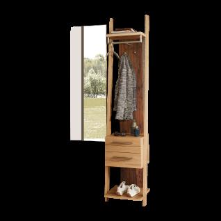 Schröder Kitzalm-Alpenflair Dielenmöbel für Ihren Eingangsbereich zweiteilige Garderobenkombination mit Garderobe und Spiegel 100% Made in Germany Korpus Salzkammergut Alteiche Natur gebürstet Akzentfarbe Alm-Altholz
