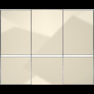 Staud Sonate Pesaro Schwebetürenschrank Front Magnoliaglas mit Mittelband in Alpinweißglas matt Korpus Dekor wählbar