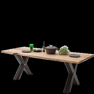 MCA Furniture Esstisch Samara in Zerreiche Massivholz geölt mit Gestell aus Schwarzstahl klar lackiert in X-Form ideal für Ihr Wohnzimmer oder Esszimmer
