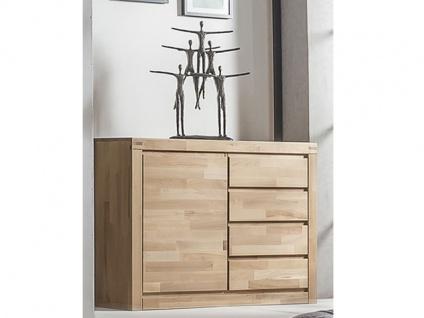 ELFO Kommode 6242 mit 1 Tür und 4 Schubkästen in Kernbuche Massivholz mit viel Stauraum für Ihr Schlafzimmer oder Wohnzimmer