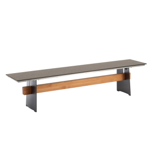 Niehoff Garden Brava Designbank G507 mit HPL-Sitzfläche Stahlwangen schwarz mit Teaksteg aus Massivholz für Ihren Garten Breite wählbar