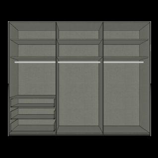 Nolte Möbel Horizont 100 Drehtürenschrank mit 6 Türen und 3 Schubkästen Korpus und Schubkastenfront in Basalt Türen in Polarweiß mit Winkelgriffen - Vorschau 2