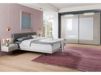 Nolte Möbel Novara Schlafzimmer 4-teilig bestehend aus Schwebetürenschrank 2-türig, Doppelbett Liegefläche 180 x 200 cm inklusive 2 Nachtschränken in Platin-Eiche-Nachbildung mit Absetzung Seidengrau
