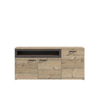 Forte Kalomira Sideboard KLRK231 für Ihr Wohnzimmer oder Esszimmer Kommode mit drei Türen und einem offenen Fach Ausführung Bramberg Fichte Nachbildung mit Akzenten in Betonoptik dunkelgrau