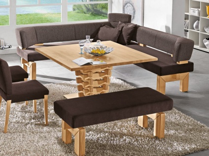K+W Möbel Brunch 7985 5 teilige Essgruppe Eckbank Bankelement Anbauelement Tisch Stühle für Esszimmer Silaxx Stoff und Leder wählbar