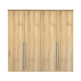 Nolte Möbel Columbus 4-türiger Drehtürenschrank in Icona-Buche-Nachbildung mit langen Stangengriffen in Bicolor Alu-matt und chrom und beleuchtetem Profilkranz optional mit Dämpfung