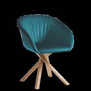 Hartmann Brik Armlehnenstuhl Anni 0633 mit wählbarem Holzgestell gepolstertem Sitz und Rücken mit Elastic-Aktiv-Federung