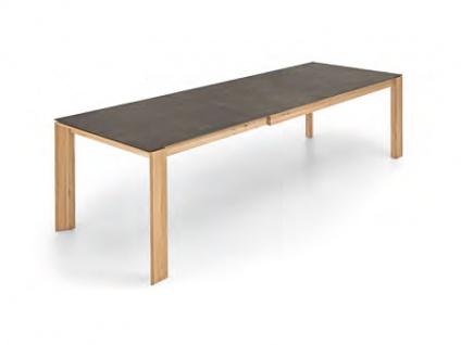 Niehoff Lanzarote Esstisch Design-Ausziehtisch für Esszimmer Tisch mit Massivholz Gehrungsgestell Ausführung der HPL-Tischplatte und Größe wählbar