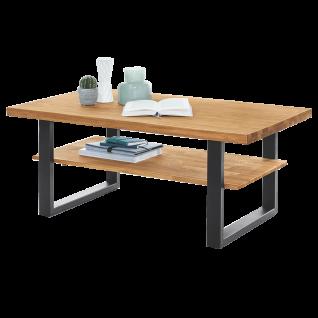 Elfo-Möbel Tina Couchtisch 2282 mit Platte und Ablage Eiche Massivholz geölt und Metallgestell schwarz