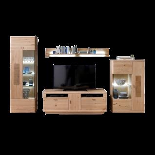 MCA Furniture Austin AUS09W01 Wohnkombination 1 für Ihr Wohnzimmer 4-teilige Wohnwand Korpus EIche bianco keilgezinkt Massivholz Front Balkeneiche Bianco DL Massivholz mit Hirnholz Applikationen