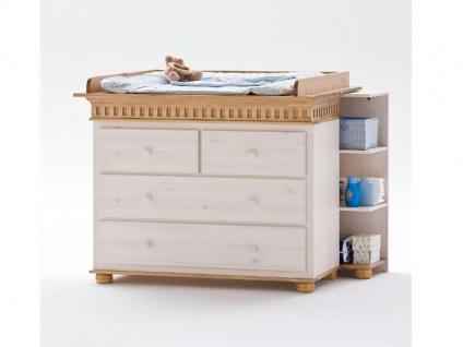 Euro Diffusion Helsinki Babyzimmer Wickelkommode mit Wickelplatte Kiefer Massivholz in weiß mit Absetzungen in antik optional mit Mehrzweckregal
