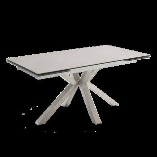 MCA furniture Esstisch Nagano mit Stirnauszug Gestell aus Edelstahl Tischplatte hellgrau aus Keramik/ Sicherheitsglas