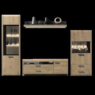 Ideal-Möbel Wohnwand Kombination Austin 44 bestehend aus zwei Vitrinen, einem Wandpaneel und TV-Schrank in Holzoptik Eiche